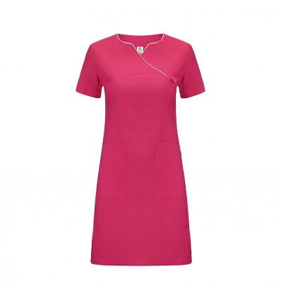 Sukienka medyczna róż intensywny, lamówka limonkowa JC2007B