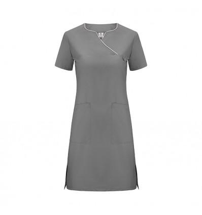 Sukienka medyczna ciemny szary, lamówka różowa JC2007B