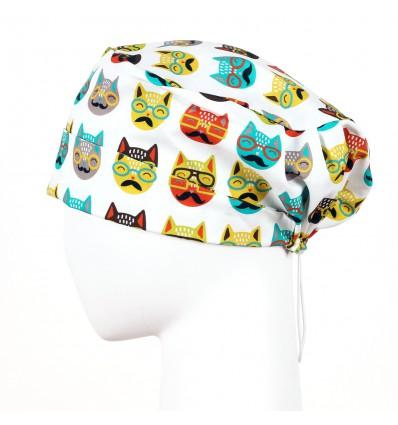 Czepek z gumką koty w okularach