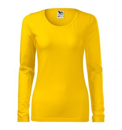Bluzka damska Slim z długim rękawem - żółta
