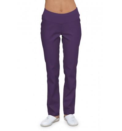 Spodnie rurki z dzianiną śliwkowe