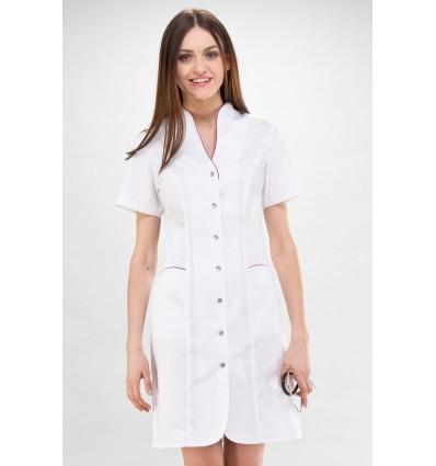Sukienka RÓŻA, biała z fuksjową lamówką