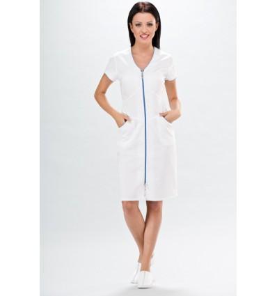 Sukienka Lily, biała, lamówka lazurowa
