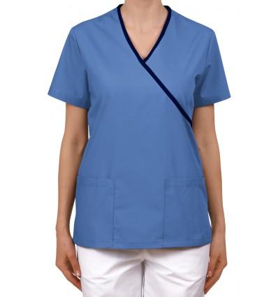 Bluza wiązana na troczki niebieska z granatowym JC102C