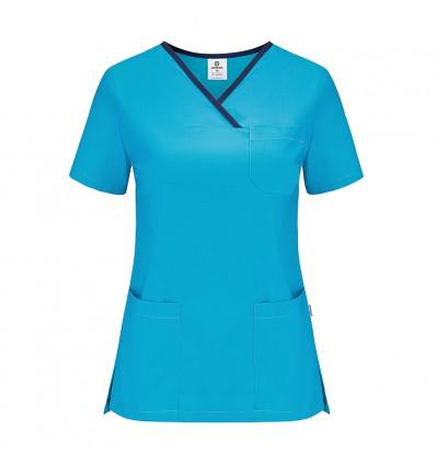 Bluza medyczna damska turkusowa z lamówką granatową JC2004B