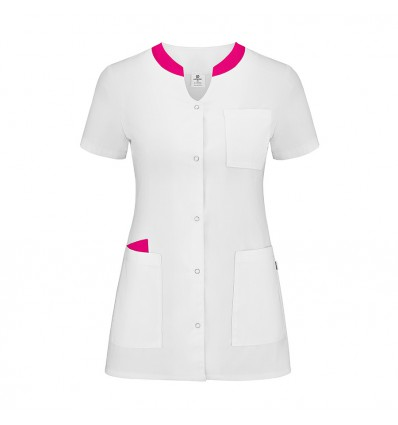 Żakiet medyczny damski, 4 kieszenie, biały z różowymi dodatkami JC2024