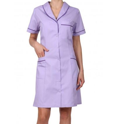 Sukienka z kołnierzem szalowym lawendowa, lamówka fioletowa W4