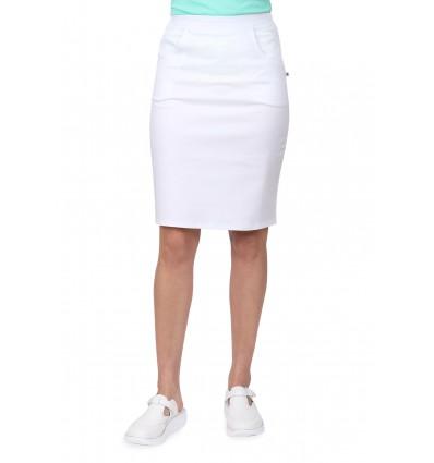 Spódnica medyczna z kieszeniami, bawełna z elastanem, biała