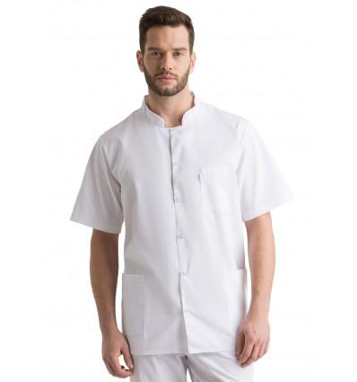 Żakiet, bluza medyczna męska na stójce biała JC128