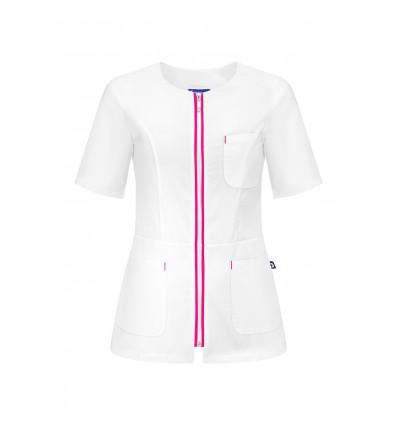 Żakiet medyczny damski biały/amarant UN2027