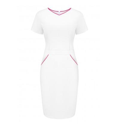 Sukienka medyczna UN2029 biała/amarant