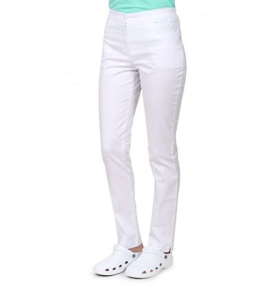 Spodnie damskie medyczne z kieszeniami, bawełna z elastanem, białe