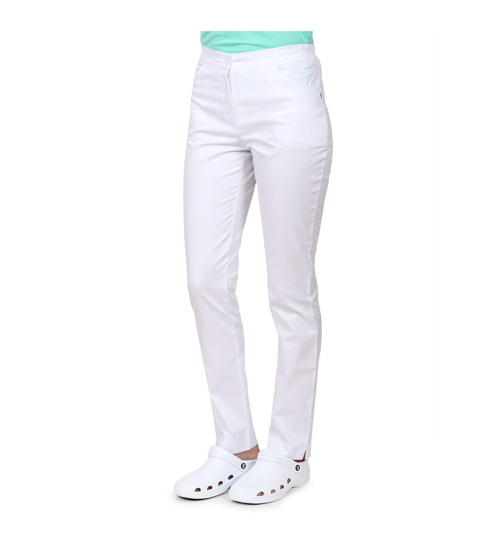 b95284f8 Spodnie damskie medyczne z kieszeniami, bawełna z elastanem, białe