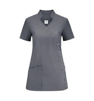Bluza medyczna damska, grafitowa, zapinana na napy, ze stójką JC2020B