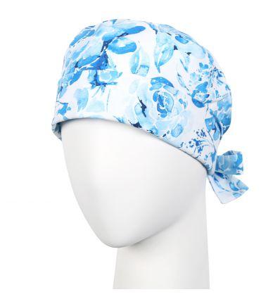 Czepek wywijany niebieskie kwiaty