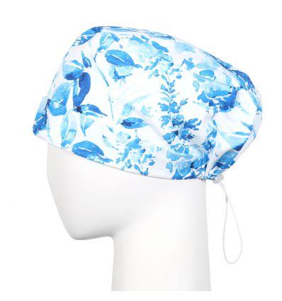 Czepek z gumką niebieskie kwiaty
