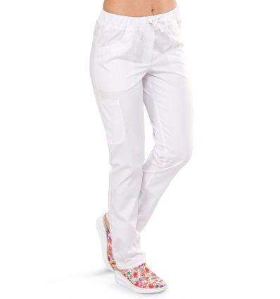 Spodnie medyczne damskie KOMFORT białe