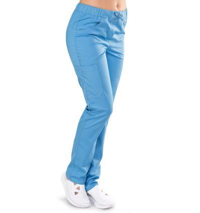 Spodnie medyczne damskie KOMFORT lazurowe