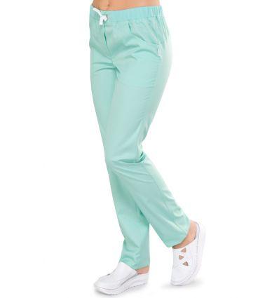 Spodnie medyczne damskie KOMFORT seledynowe