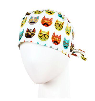 Czepek uniwersalny koty w okularach