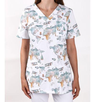 Bluza damska PREMIUM, Mapa świata