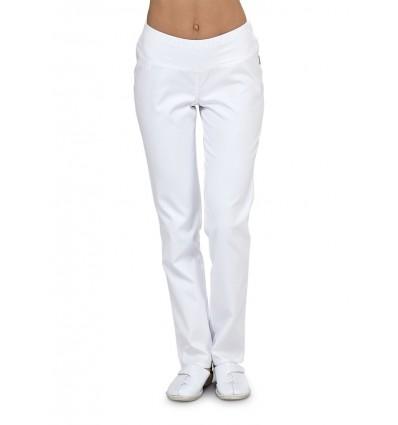 Spodnie rurki z dzianiną białe