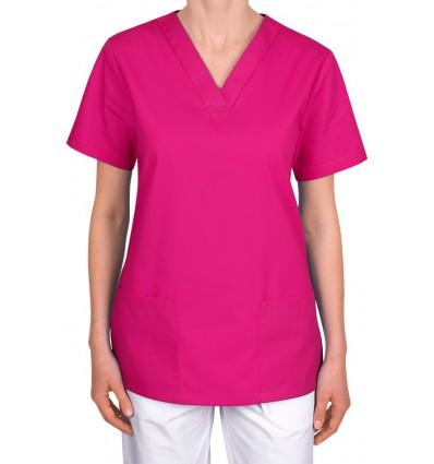 Bluza medyczna, taliowana, róż intensywny JC101